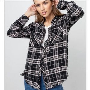 NWT Rails Leo ONYX PEACH Plaid Flannel Shirt